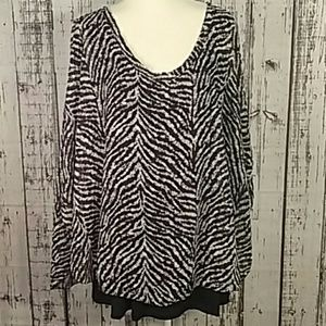 Cha cha vente nwt plus 3x zebra layered blouse